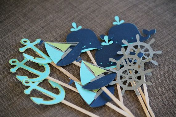 Nautical Sea Theme Cupcake Toppers Ocean Theme by paperpatterns, $18.00