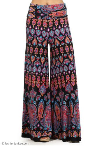 Foldover Waist Vintage Print Palazzo Long Gaucho Pants with Wide Legs-Black (10% OFF!)