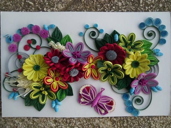 Handmade Quilling Paper Flower Wall Art 3d Art Ideal For Etsy