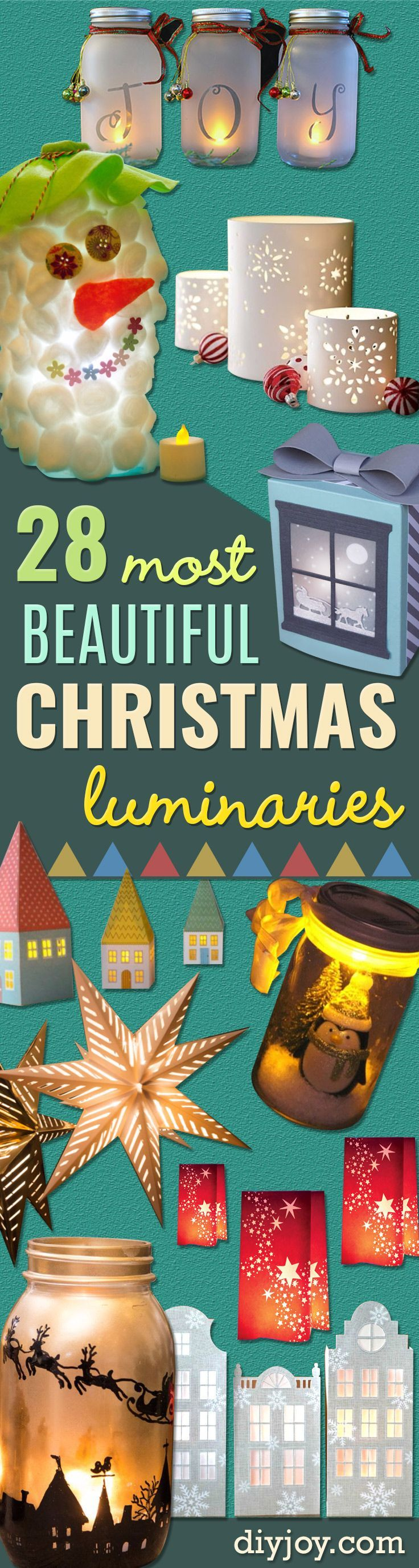 DIY Christmas Luminaries and Home Decor for The Holidays - Cool Candle Holders, Tea Lights, Holiday Gift Ideas, Christmas Crafts for Kids - Line Winter Walkways With Rustic Mason Jars, Paper Bag Luminaries and Creative Lighting Ideas http://diyjoy.com/diy-christmas-luminaries