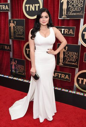 SAG Awards Red Carpet 2015 -- Ariel Winter in ZAC Zac Posen designed white beautiful gown.