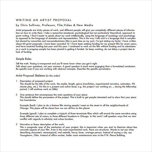 Artist Proposal Samples Grant Writing Proposal Writing