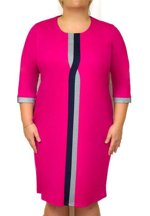 095bf326ac Elegancka sukienka XXL OTA duże rozmiary 46-54. Modna sukienka w kolorze  fuksji.