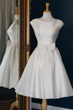 Audrey Lynn Vintage Bridal Misha Dress | Mikado tea length wedding dress with boatneck, cap sleeves and full circle skirt with bow detail | Modern tea length wedding dress