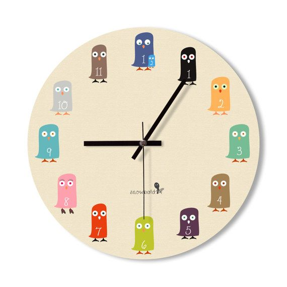Wall Clock baby owl clock cute owl clock home by Snowbald on Etsy