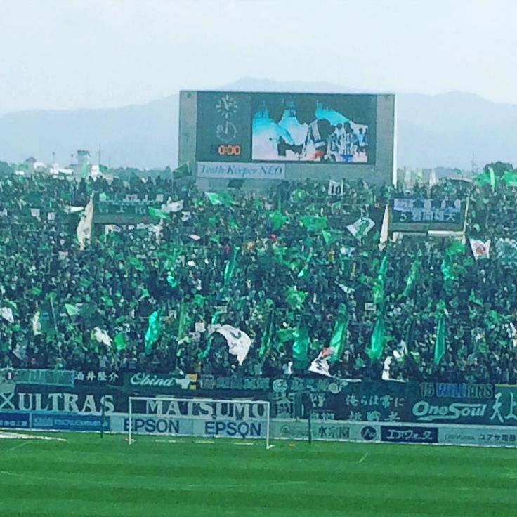 A sea of green. Matsumoto ultras pack the home end before the start of their relegation 6 pointer with Montedio Yamagata #yamagata #football #soccer #yamaga #matsumoto #montedio #montedioyamagata #jleague #j1 #j2 #groundhopping #groundhopper by japanfootball