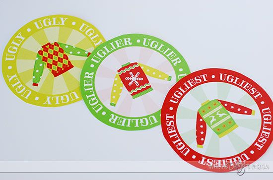 Ugly Sweater Party 1st, 2nd and 3d place stickers ~ or make a 'medal' by attaching to garland for winners to wear around their necks.  Free printable.