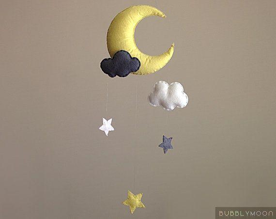 Maan Baby Mobile Stars Nursery Decor wolken Baby door BubblyMoon