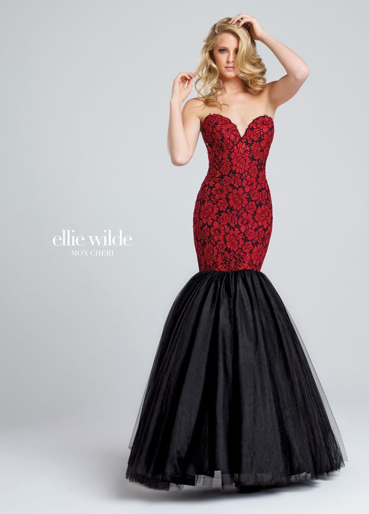 The Ellie Wilde EW117043 prom dress features a classic trumpet silhouette with a sweetheart neckline, designed with a floral lace bodice and tulle skirt. Eyelash trims edge the strapless top, which shimmers with heat-set stones as it tapers to the exaggerated drop waist. Gathered tulle over a solid lining make up the gorgeously flared skirt. Removable straps included. Available in sizes 0 to 16. #elliewilde #promdresses #prom #prom2018