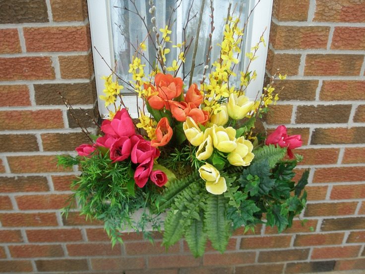 Spring window box!  All replica flowers! Custom designed by Doris at www.grandentrancedesign.com located in Caledon ON.  #spring