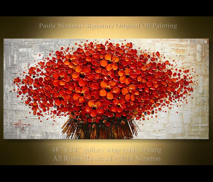 ORIGINAL Red Bouquet Painting 48 x 24 Large Abstract by Artcoast