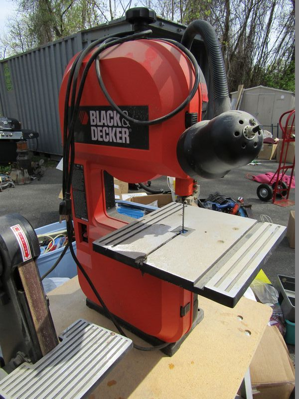 craftsman band saw sander. three pieces of shop equipment including a black and decker band saw, craftsman scroll saw sander