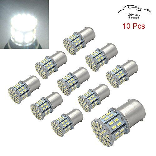 Efoxcity 12V 1156 10 Pack Bright 1156 1141 1003 50-SMD White LED Bulbs For Car Interior RV Camper light. For product info go to:  https://www.caraccessoriesonlinemarket.com/efoxcity-12v-1156-10-pack-bright-1156-1141-1003-50-smd-white-led-bulbs-for-car-interior-rv-camper-light/