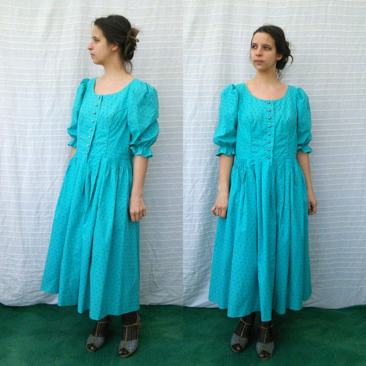 Vintage Salzburger Dirndl • Aquamarine Floral Dress • Oktoberfest Austrian German Festival Folk Dress • Short Puff Sleeve • Size M_L by GypsySoulVTGboutique on Etsy