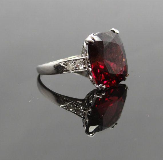 Amazing Antique Art Deco White Gold Diamond and Rhodolite Cushion Cut Garnet Ring