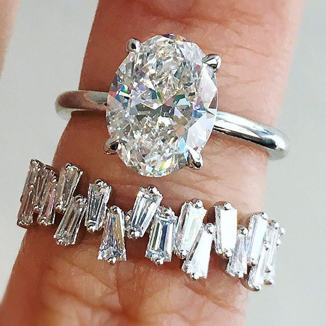 So. In. LOVE!   Our signature Aura oval diamond ring and baguette ring, custom made in platinum and white gold.  For pricing and details, tap the link in our bio. Tag your girls!