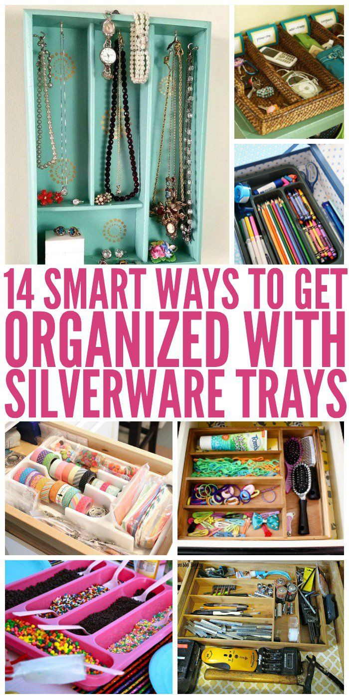 Why limit silverware trays to a drawer? Here's a list of different diy tips and ideas to use them for organizing other things all around the house.