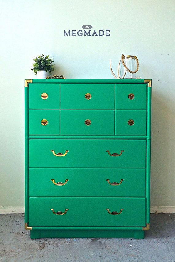Gorgeous Emerald Campaign Tallboy Dresser By Megmade 2024