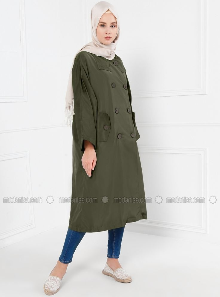Khaki - Unlined - Crew neck - Trench Coat - Refka