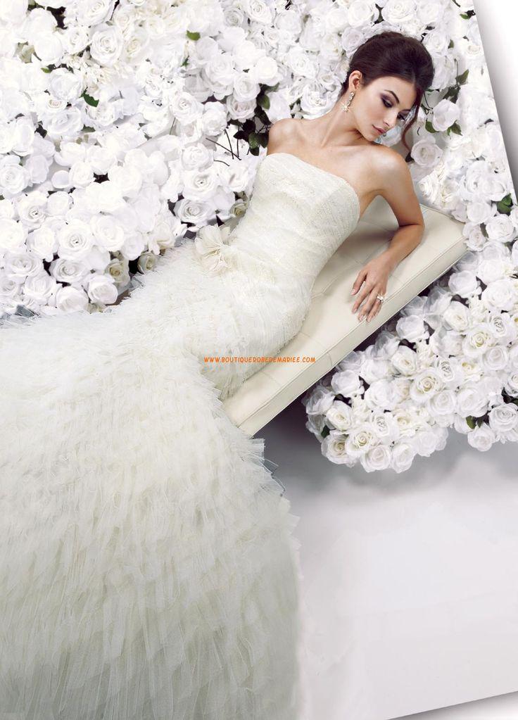 Belle robe de mariée sirène tulle petite traine