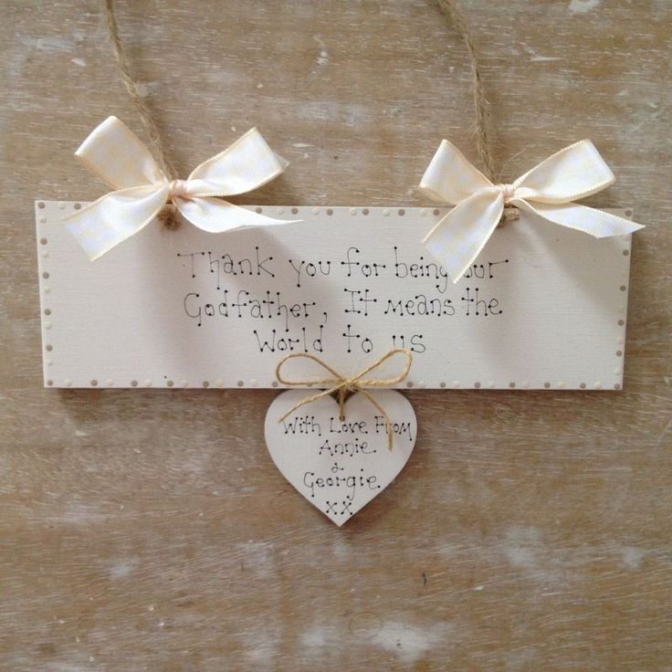 Personalised Godfather Godmother Christening Day Keepsake Wooden Gift Sign