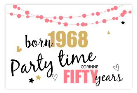 Beroemd Vrolijke uitnodiging voor een Sarah met roze slingers | 50 jaar @HX81