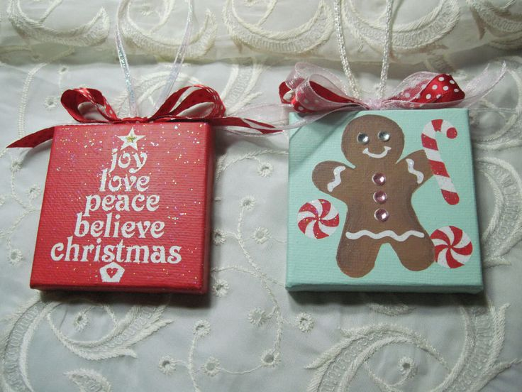Hand Painted mini Canvas Christmas Holiday Ornament Joy Tree Gingerbread Boy
