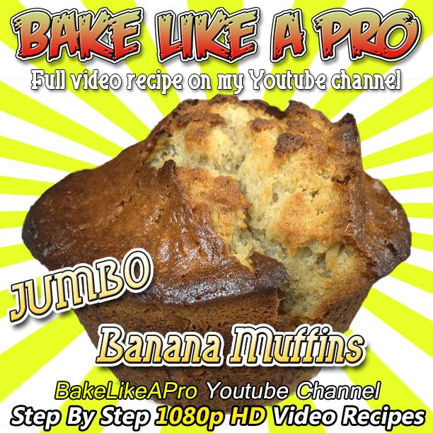 Jumbo Banana Muffins Recipe ! Please SUBSCRIBE: http://bit.ly/1ucapVH  I'll show you how to make some super easy JUMBO banana muffins at home.  These are super moist and so easy to make.  My Facebook Page: http://www.facebook.com/BakeLikeAPro My Twitter: http://twitter.com/BakeLikeAPro  Please subscribe, like and share if you can, I do appreciate it. http://bit.ly/1ucapVH  #recipe #recipeshare #bananas #muffins #baking #love