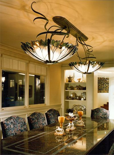 Custom Double Stained Glass Chandelier Dining Room Fixture
