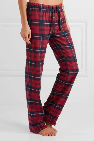 Three J NYC - Jamie Plaid Cotton-flannel Pajama Set - Claret - x small