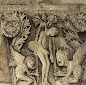 Capitel con El suicidio de Judas, de Gislebertus, Saint Lazaire en Autun. El remordimiento y restitución del dinero por Judas fue representado por pocos, aunque interesó a Rembrant, mientras que su suicidio en la horca fue representado en capiteles y tímpanos de catedrales medievales.