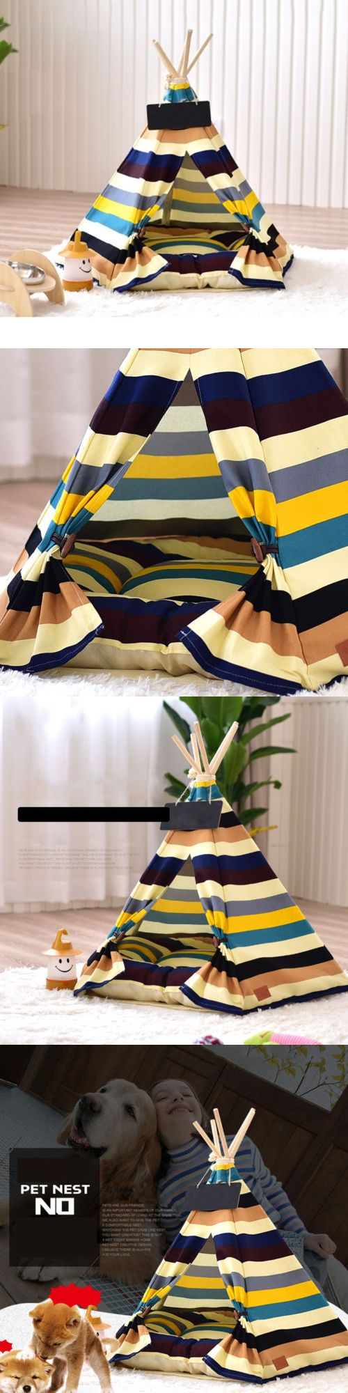 Dog Houses 108884: Removable Canvas Striped Pet Kennels Dog Cat Teepee Play Tent House Bed Chn L S -> BUY IT NOW ONLY: $31.55 on eBay!