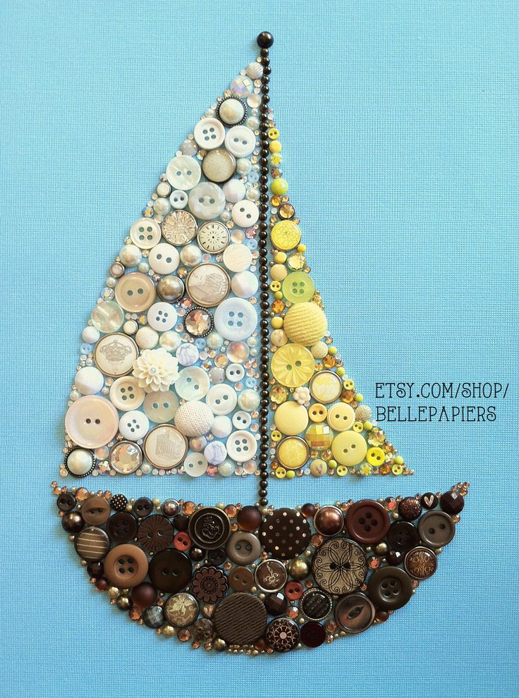 Button Art! Button Sailboat Swarovski Crystals and buttons