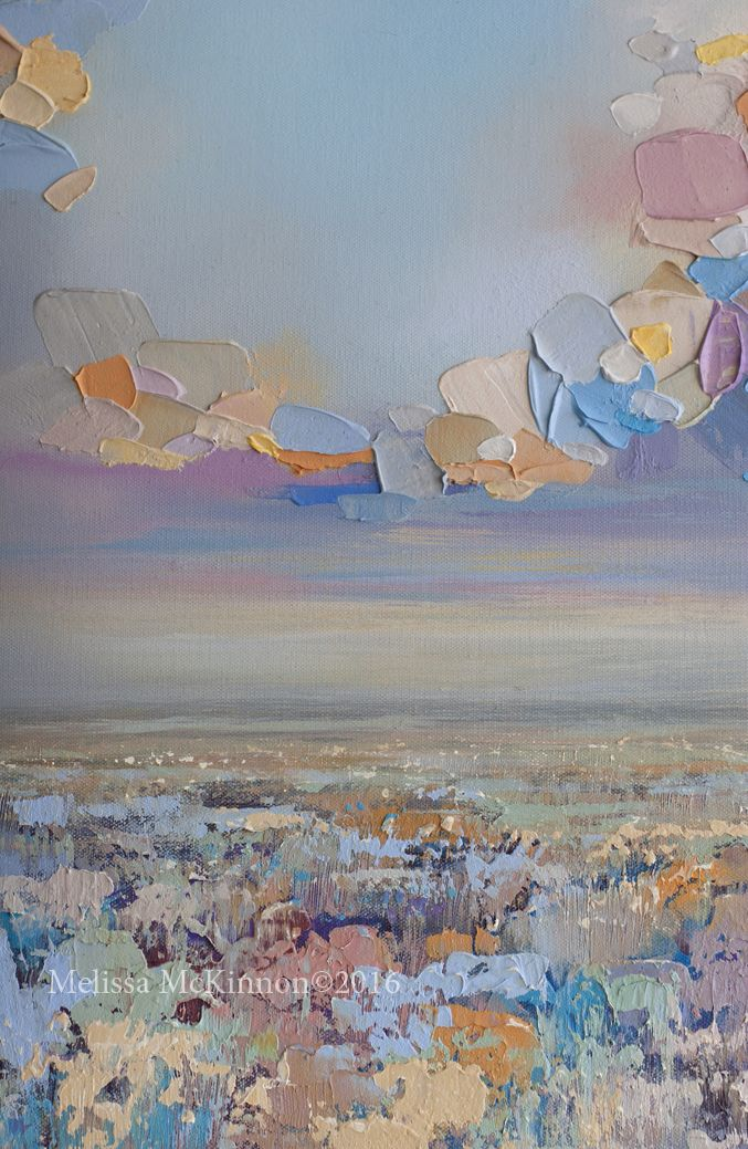 """MELISSA MCKINNON Contemporary Abstract Landscape Artist features BIG COLOURFUL PAINTINGS of Aspen & Birch Trees, Rocky Mountains and stunning views of the Canadian prairies, big skies and ocean beaches. Modern Art. Abstract landscape painting of prairie field and a colourful sunset cloudy sky. """"Soft Summer Light"""" {Detail} 48""""x36"""""""
