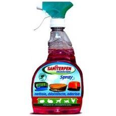 Saniterpen Desinfectant-hygiène des animaux-750ml- 8.93e   Nettoie, désinfecte l'environnement des animaux : paniers, caisses • Décolle les saletés les plus tenaces  • Supprime les mauvaises odeurs(Odeur acceptée par les animaux). • Détruit bactéries et micro-organismes  Retirer les animaux.  Eliminer miettes, débris et souillures Pulvériser  Laisser agir quelques minutes puis rincer. Convient pour la désinfection des  mangeoires et abreuvoirs, dans ce cas rincer ensuite à l'eau potable.