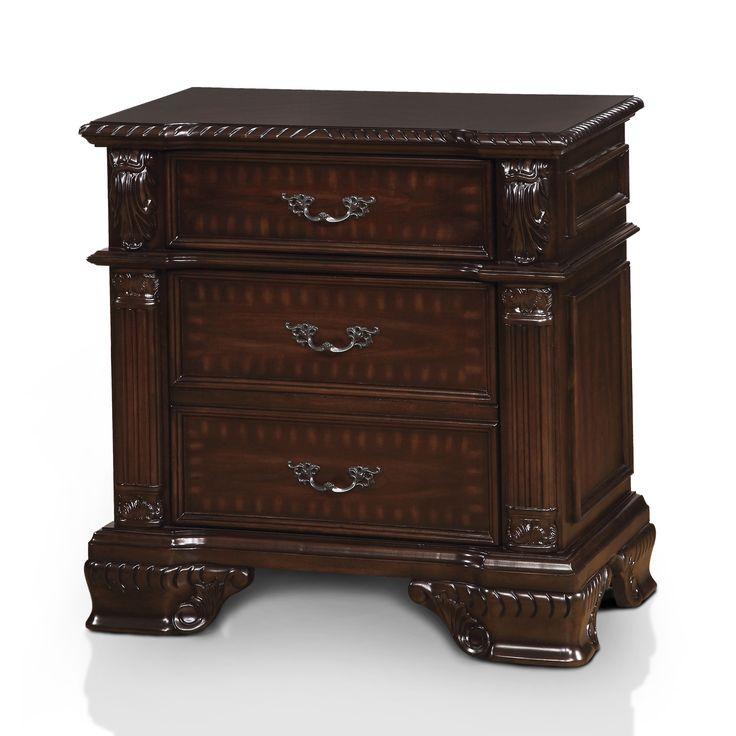 Furniture of America Mikaela Traditional Cherry Nightstand