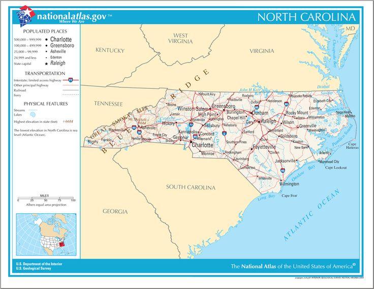 Best North Carolina Maps Images On Pinterest North Carolina - North carolin map