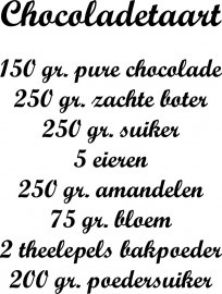 Muursticker Recept Chocoladetaart