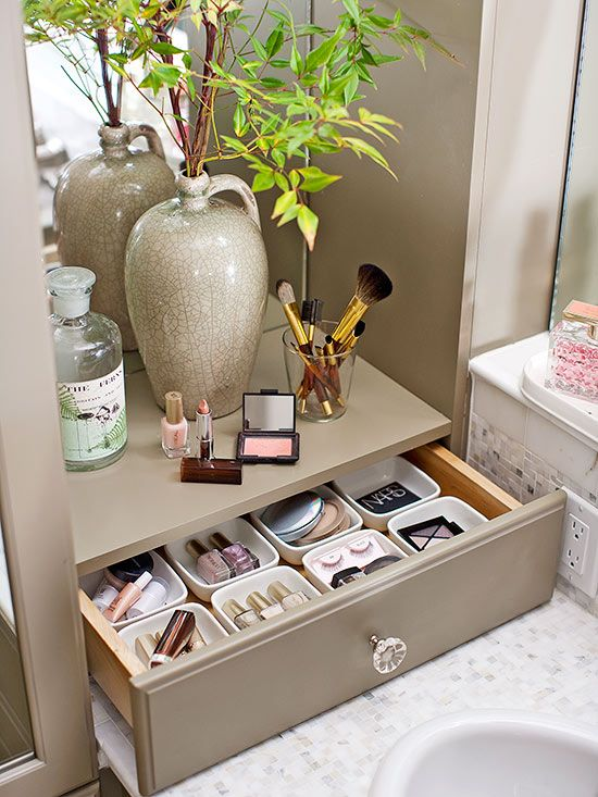 Create a specialized place for makeup and delicate accessories with a countertop drawer. The drawer works overtime with individual storage cups, perfect for corralling tiny items that would otherwise roll around in a drawer./