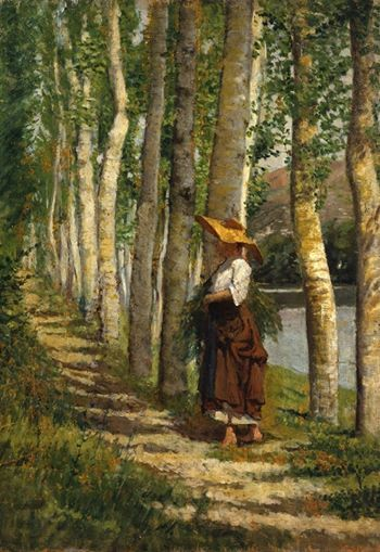 Giovanni Fattori (Italian artist) 1825 - 1908 Contadina fra i Pioppi (Peasant Woman between Poplars), ca. 1875 oil on panel