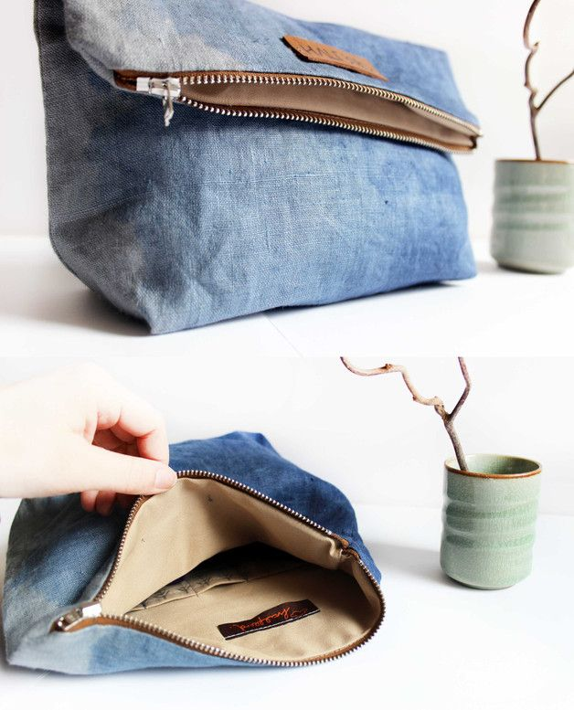 Hangefärbte Clutch aus Leinen und Rindsleder, Kulturbeutel / denim style clutch, casual but elegant made by halfbird via DaWanda.com