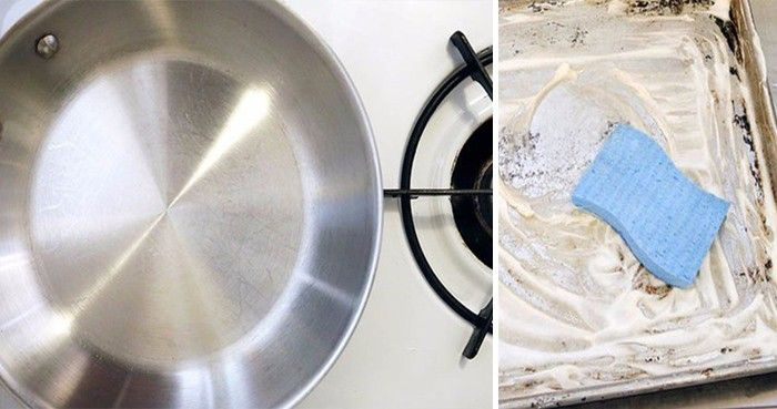 Hrnce, pánve, dokonce i některé plechy, které jsou zaneseny tak, že byste nepředpokládali, že je ještě někdy využijete, se budou lesknout a budou znovu na běžné používání v kuchyni.