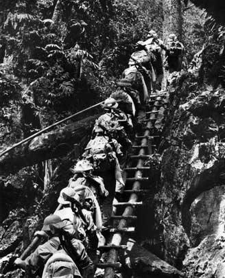North Vietnamese Army (NVA) troops moving along the Ho Chi Minh Trail.