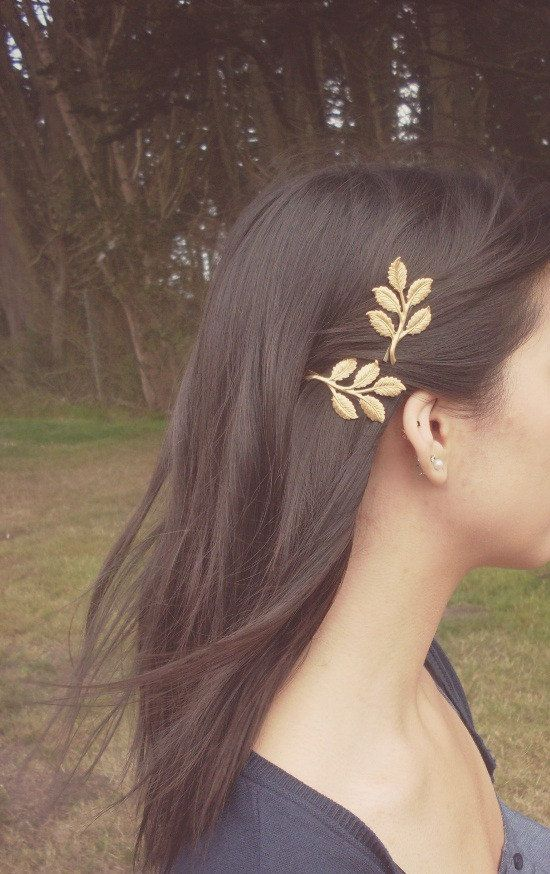 Gold Leaf Branch Bobby Pins Bridal Hair Pins by dreamsbythesea, $38.00