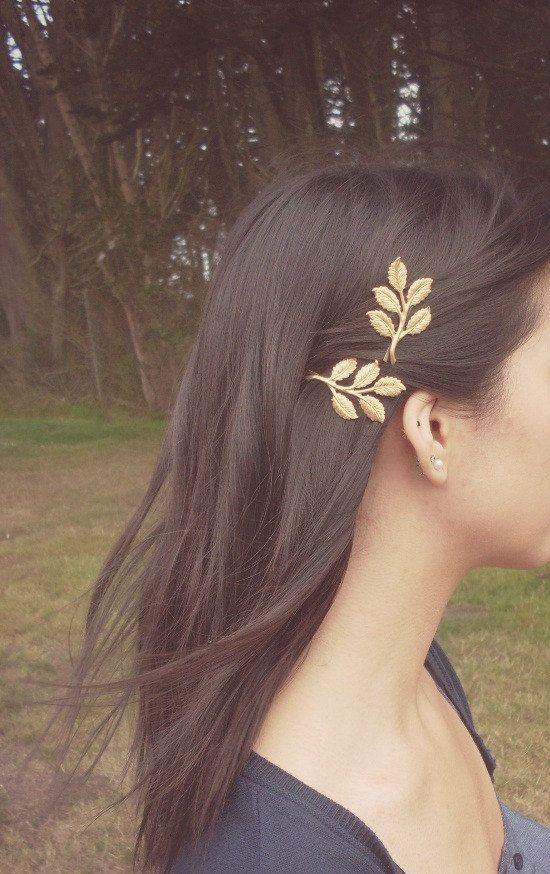Gold Leaf Branch Bobby Pins  Bridal Hair Pins by dreamsbythesea