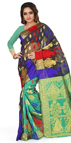 Alluring Black And Multi-Color Silk Saree With Blouse.