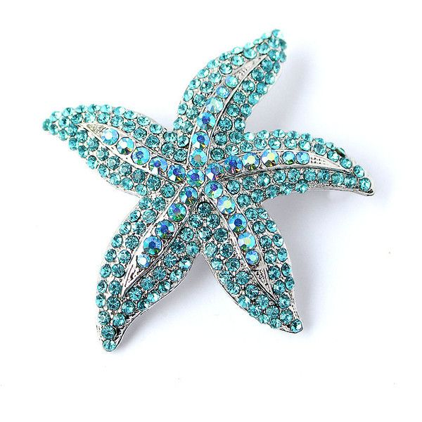 Starfish Brooch, Bridal Sash Brooch, Aqua Blue Starfish Brooch, Beach... (48 BAM) ❤ liked on Polyvore featuring jewelry, brooches, blue brooch, brooch, bride jewelry, crystal jewellery, beach jewelry and blue jewelry