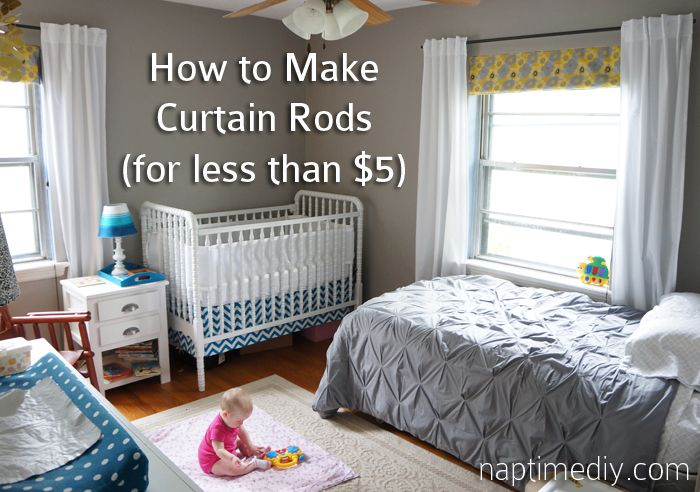 How to make cheap curtain rods. Also includes instructions to make rod brackets for cheap!