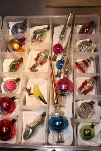 An assortment of antique glass Christmas  ornaments.