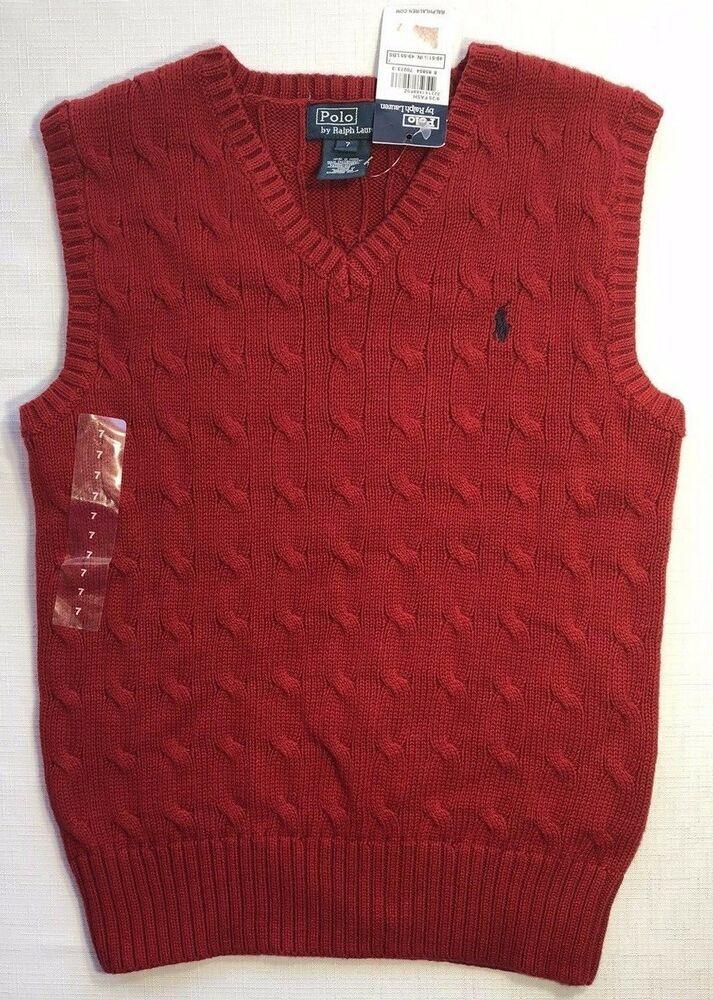 5eb094738 NWT Polo Ralph Lauren Boys 7 Red V-Neck Cable Knit Sweater Vest   PoloRalphLauren  Vest  DressyHoliday